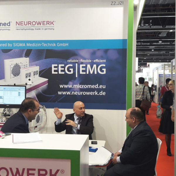 Micromed Group - ARAB HEALTH 2019. Mr. Mohamed Zahran in discussion at the booth.